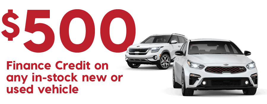 $500 Finance Credit on any in-stock new or used vehicle